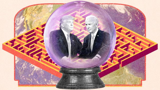 Donald Trump and Joe Biden inside a crystal ball on top of a background of a maze and an earth pattern in the style of the Choose Your Own Adventure books