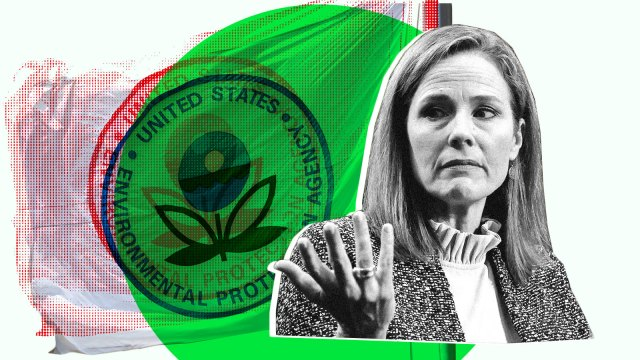 Amy Coney Barrett sits over an image of the flag of the Environmental Protection Agency