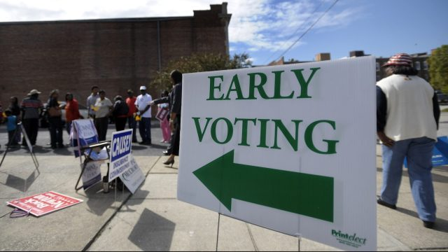 photo of early voting line north carolina