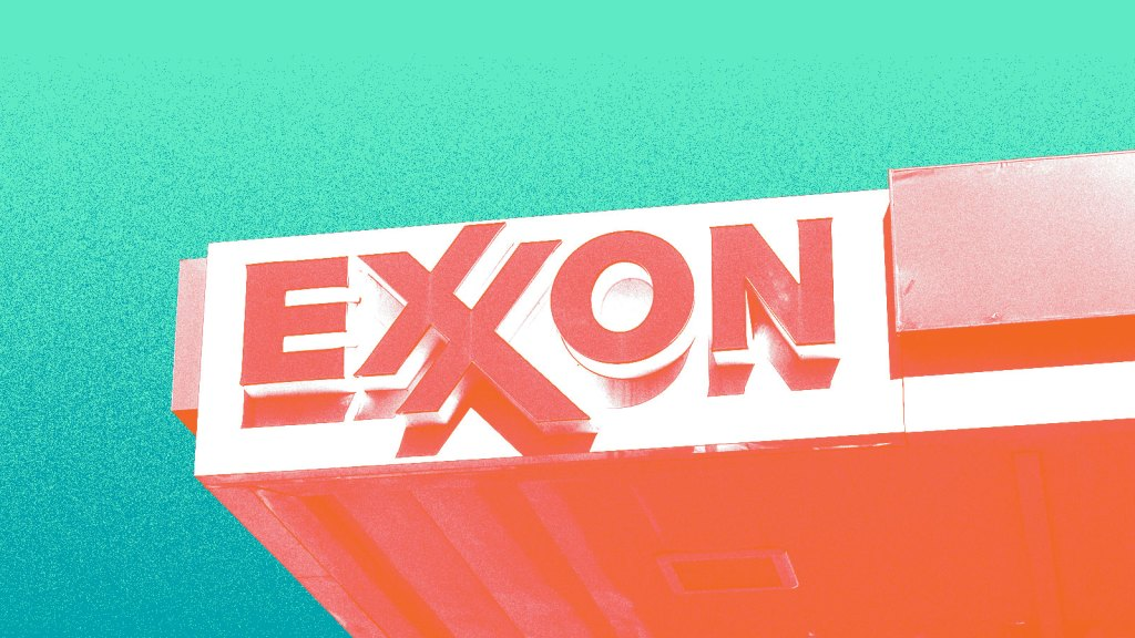 Exxonmobil sign against a teal background