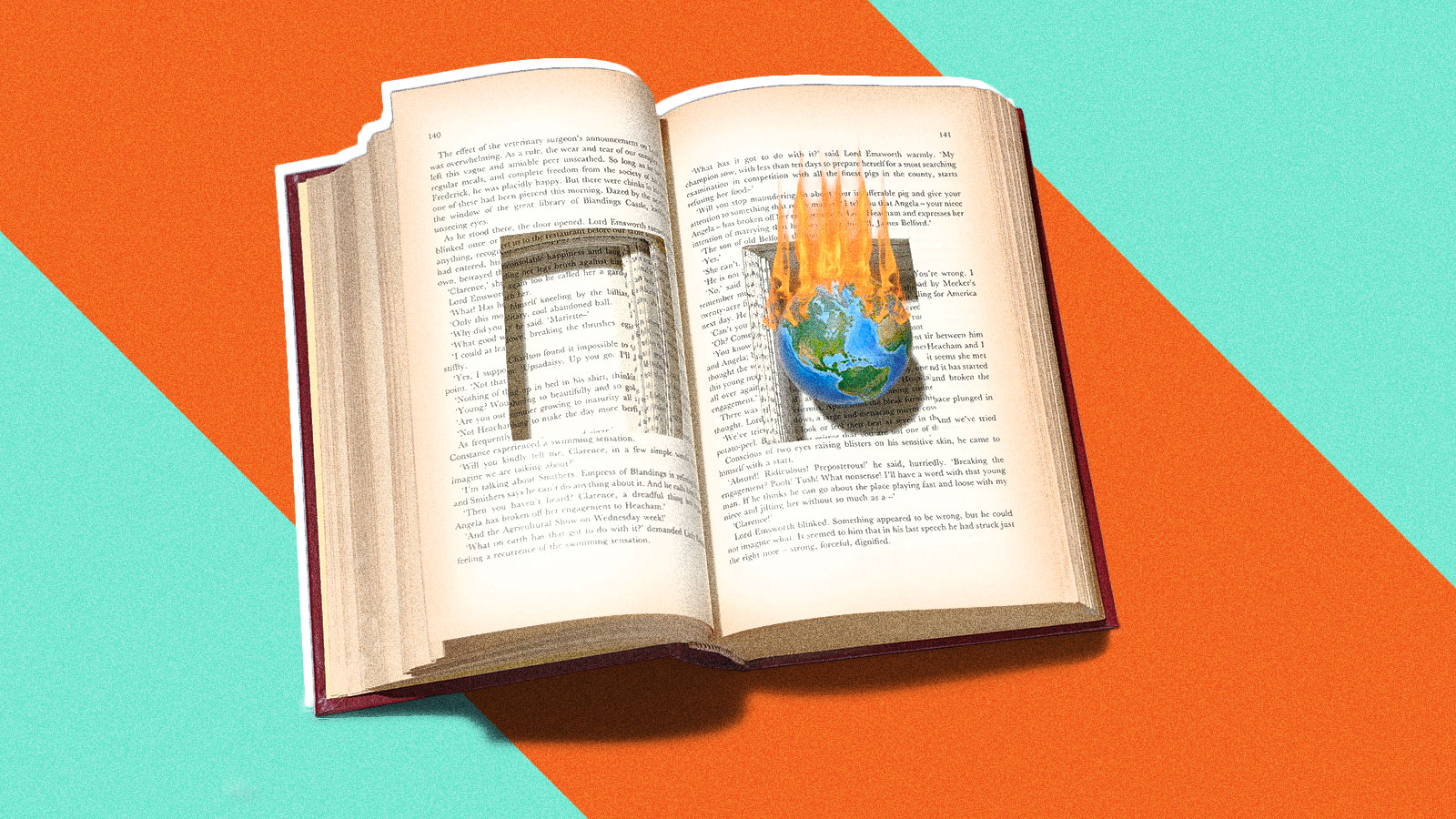Open book with a small earth on fire in cut out section of the pages