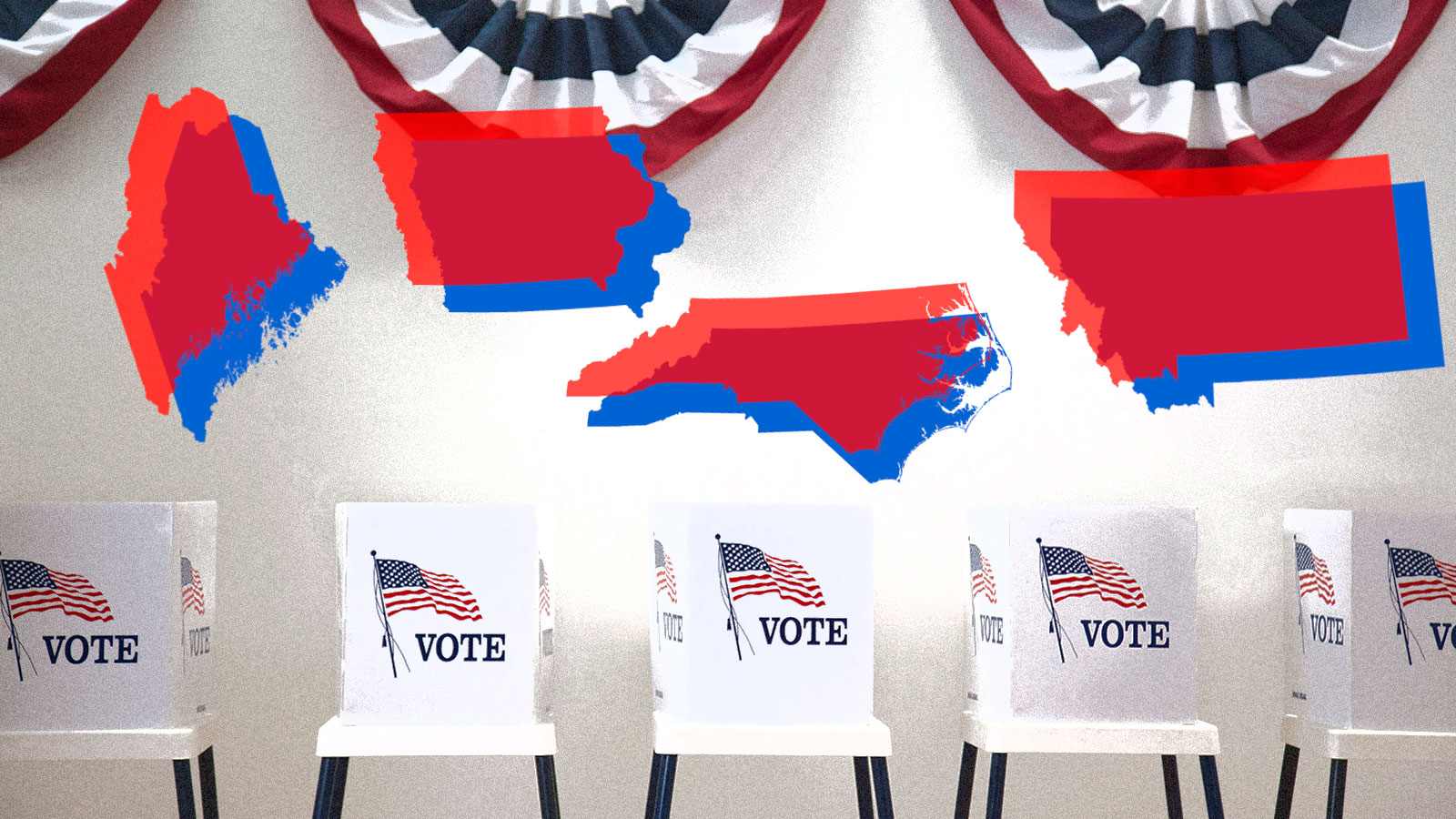 Four swing states against a backdrop of voting booths.