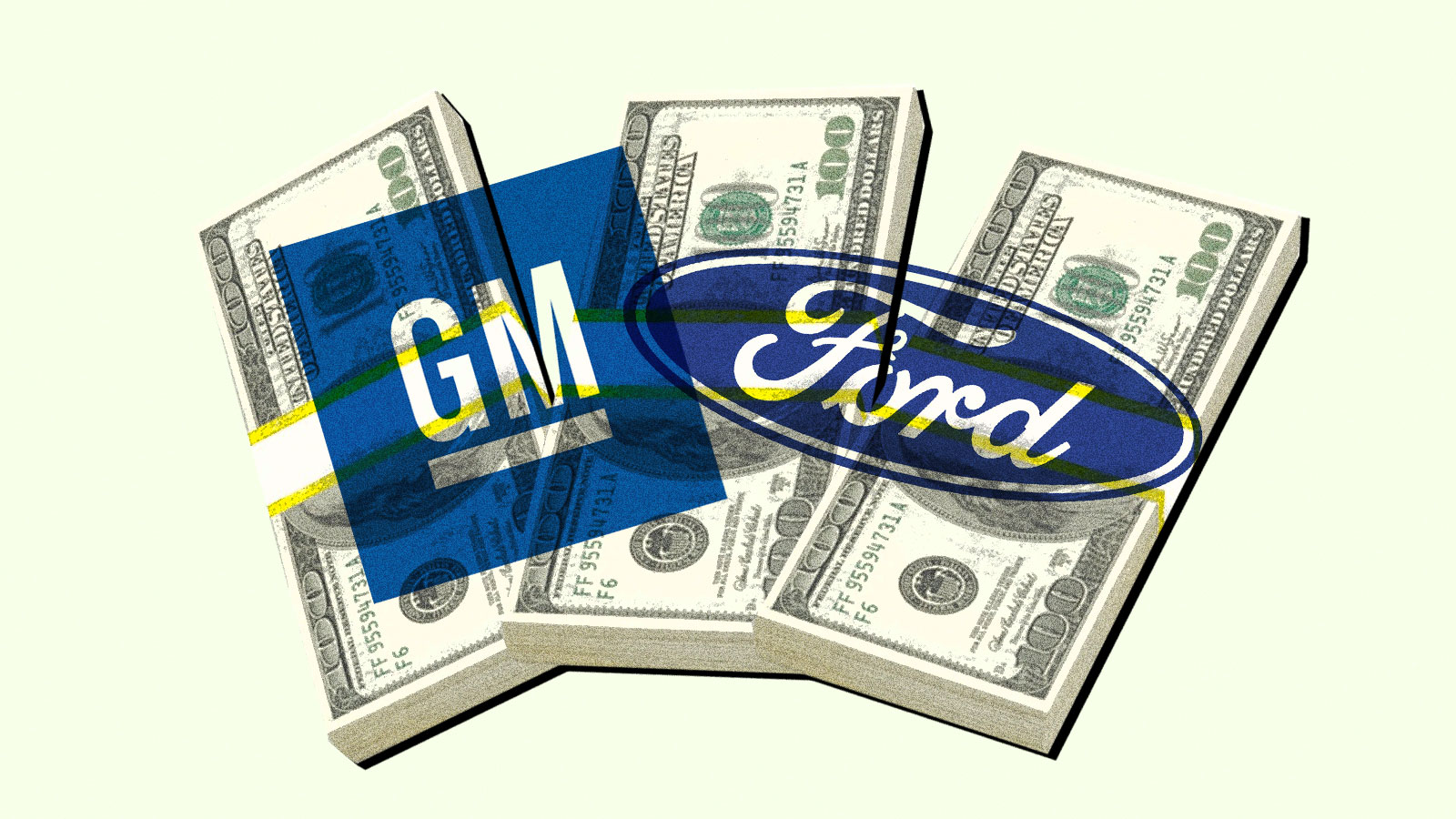 General Motors and Ford logos over a pile of money