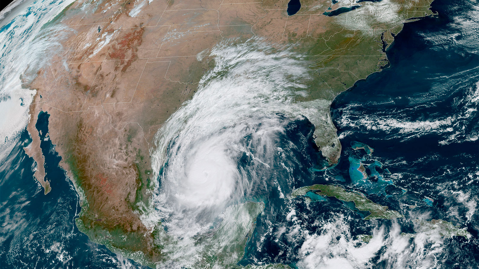 Satellite photo of Hurricane Delta in the Gulf of Mexico