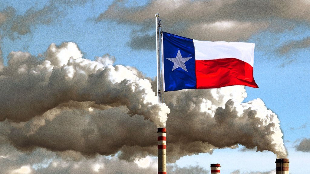 The Texas flag rising out of a smog cloud being emitted by a smokestack