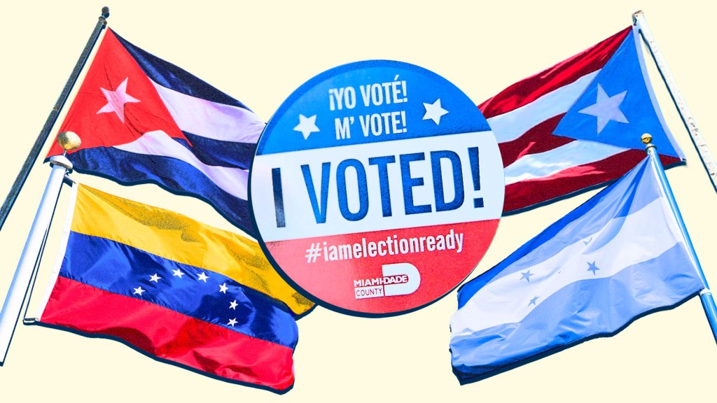"""A collage of the flags of Venezuela, Honduras, Cuba, and Puerto Rico with an """"I Voted"""" sticker in the center"""