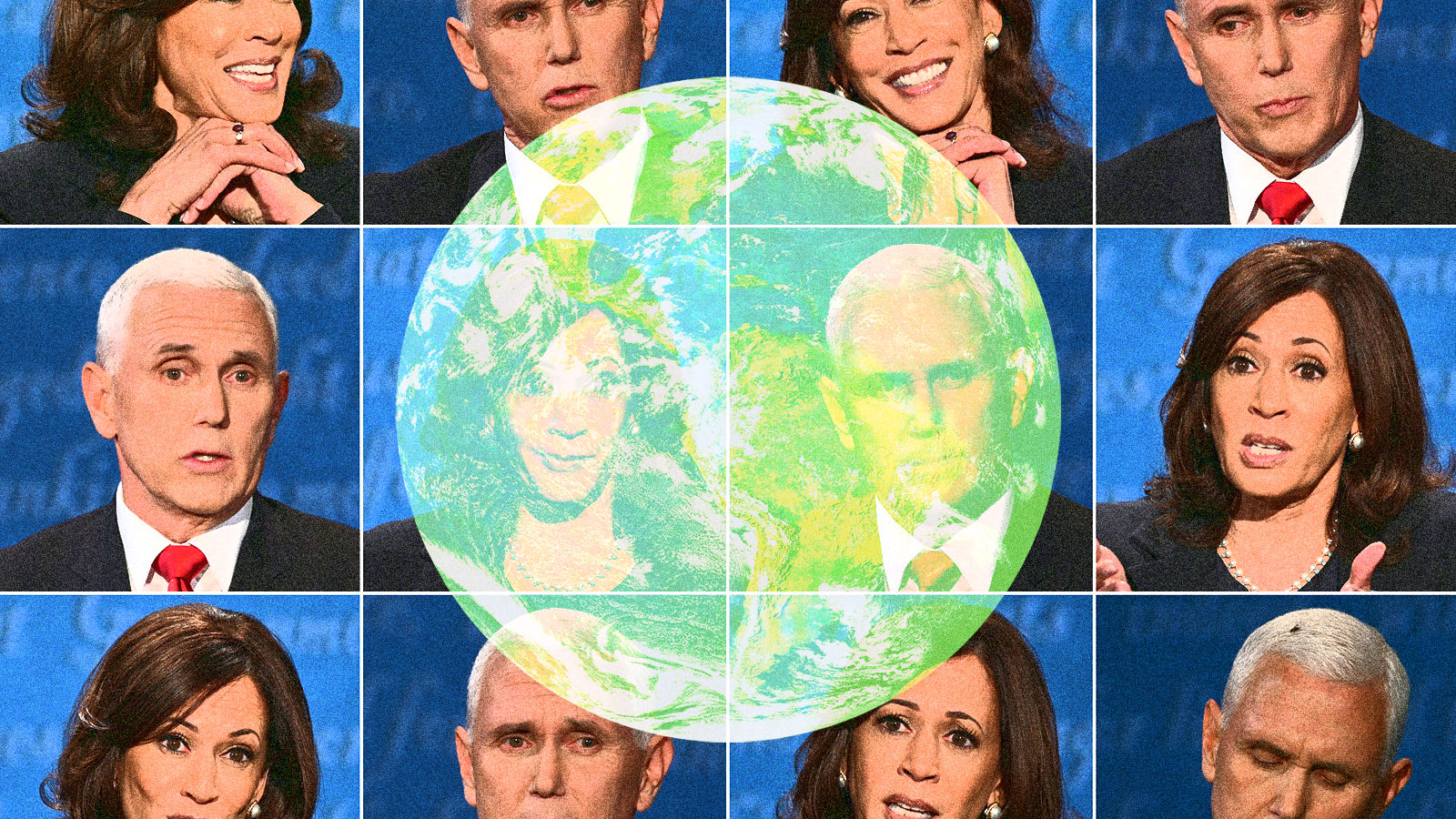 A compilation of Kamala Harris and Mike Pence's expressions from the Vice Presidential debate with an earth in the middle of the image