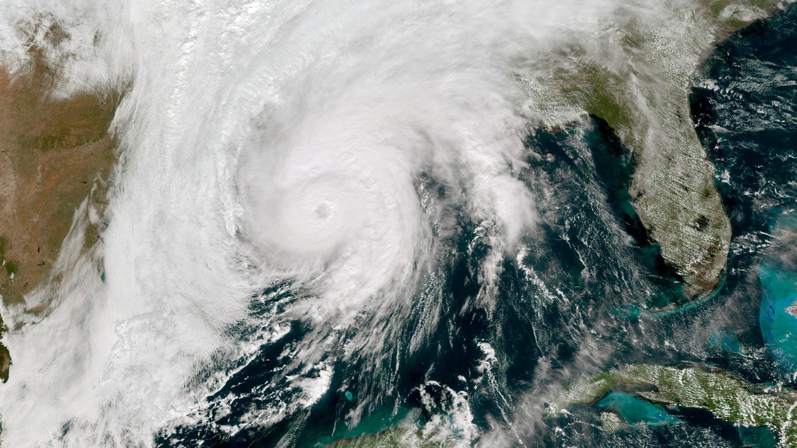 Hurricane Zeta in the Gulf of Mexico nearing Louisiana