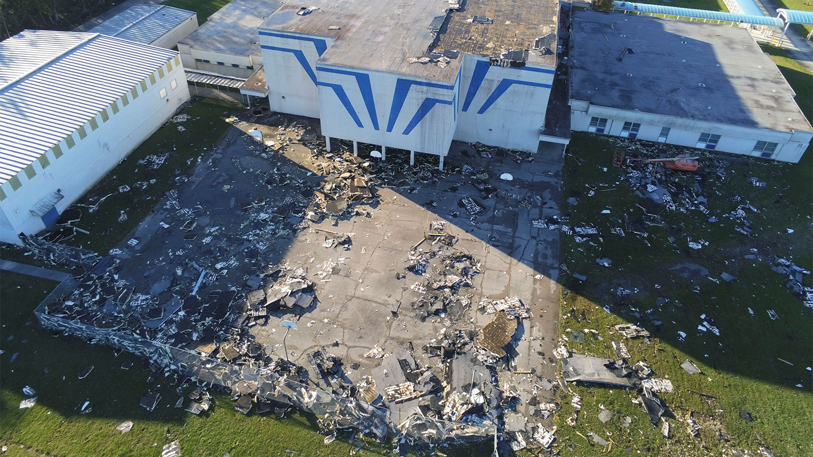 Drone photo of damage to St Bernard Middle School after Hurricane Zeta on October 29, 2020 in St Bernard, Louisiana.