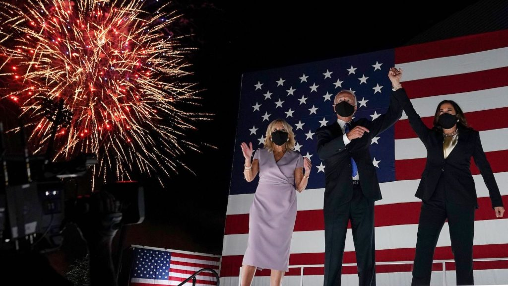 Photo of DNC fireworks celebration with Biden and Harris