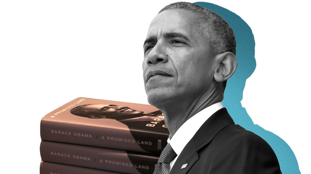 A collage of Barack Obama with a blue shadow and a stack of his books behind him.