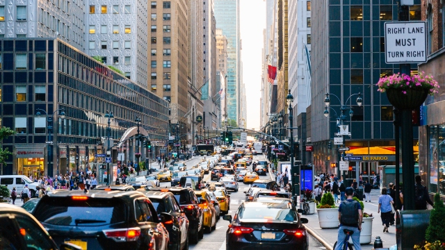Traffic jam on 42nd street in Manhattan, New York City