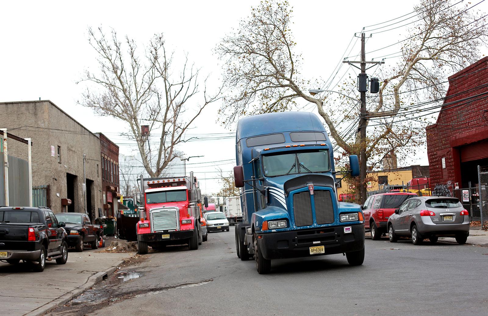 Trucks drive through Newark