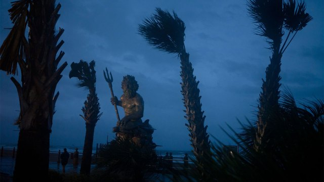 A photo of the King Neptune statue as the first wind and rain of Hurricane Irene blow in on August 27, 2011 in Virginia Beach, Virginia.