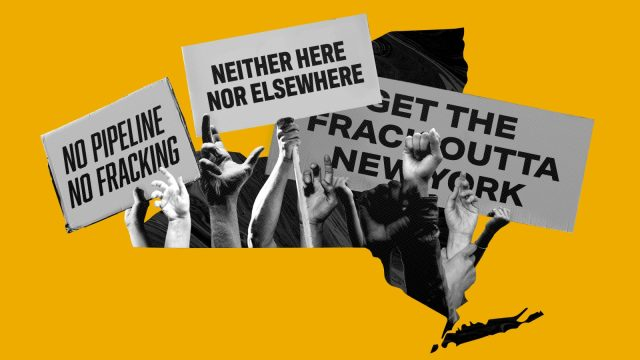 Composite image of pipeline protest signs in NY