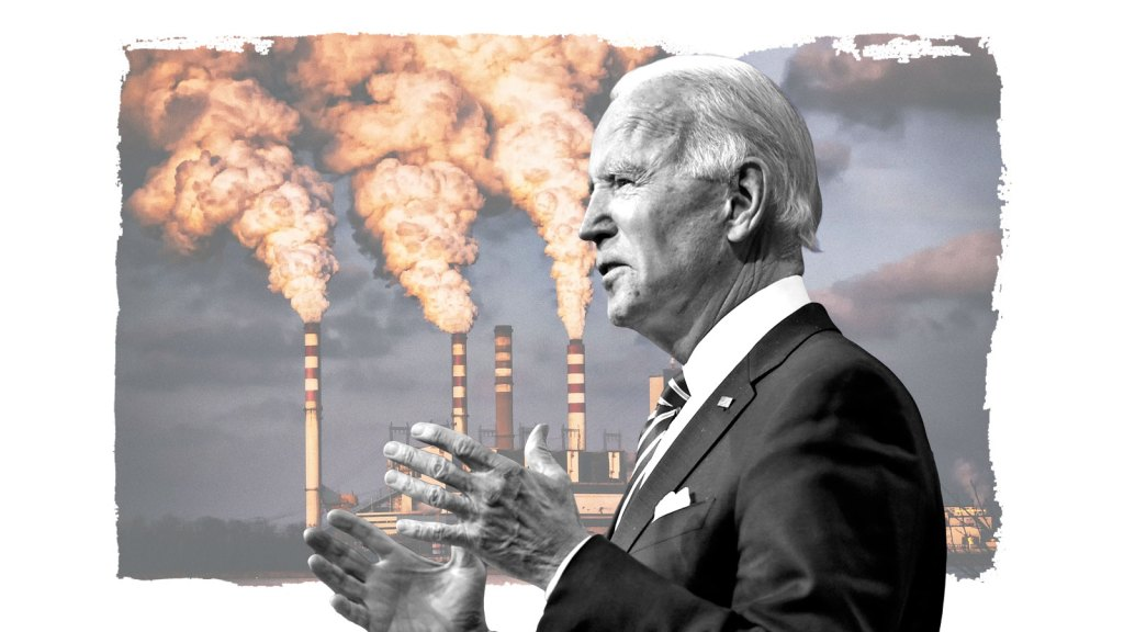 President elect Joe Biden in front of a photograph of power plants