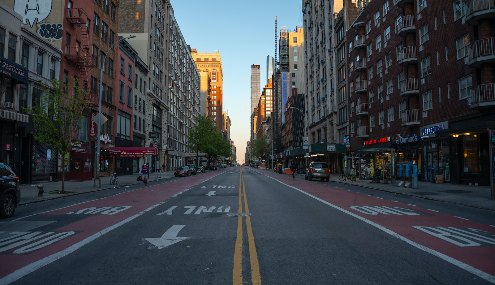 An empty street in NYC during the height of the coronavirus lockdowns.