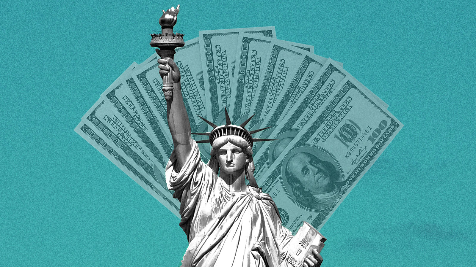 A picture of the Statue of liberty with $100 dollar bills fanned out behind her