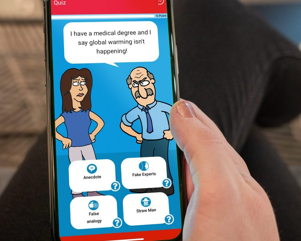 A photo of a phone app showing an old man saying that he has a medical degree and thinks global warming isn't happening.