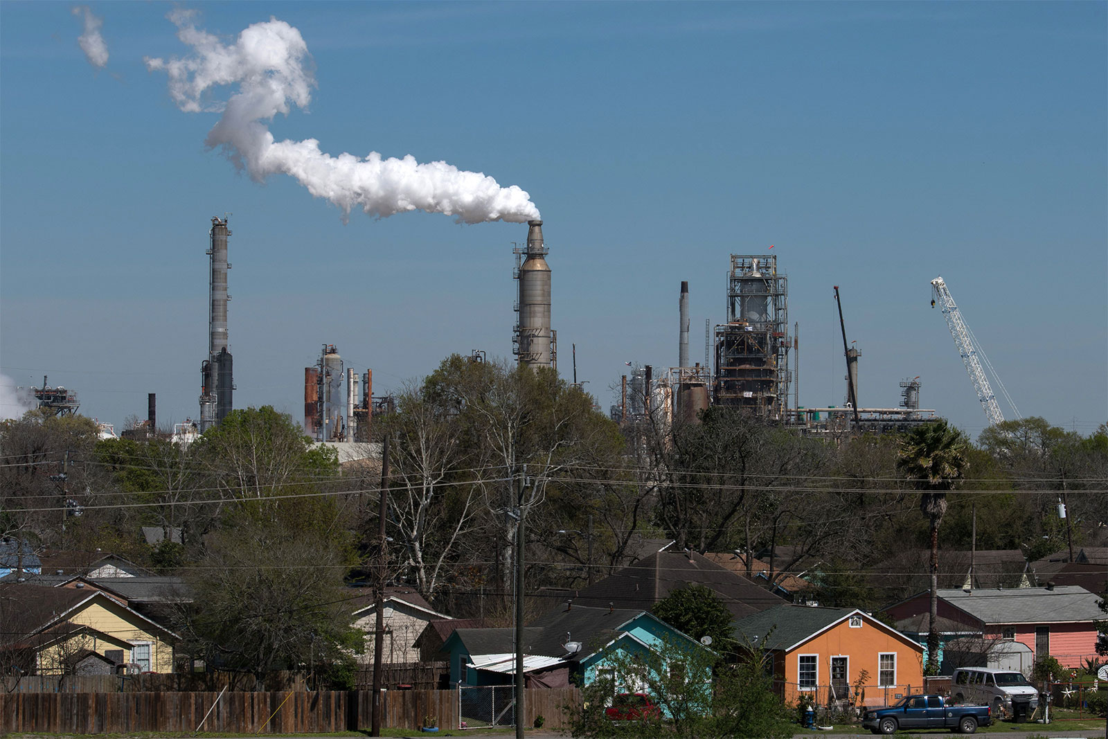 The Valero oil refinery near the Houston Ship Channel, part of the Port of Houston, on March 6, 2019 in Houston, Texas