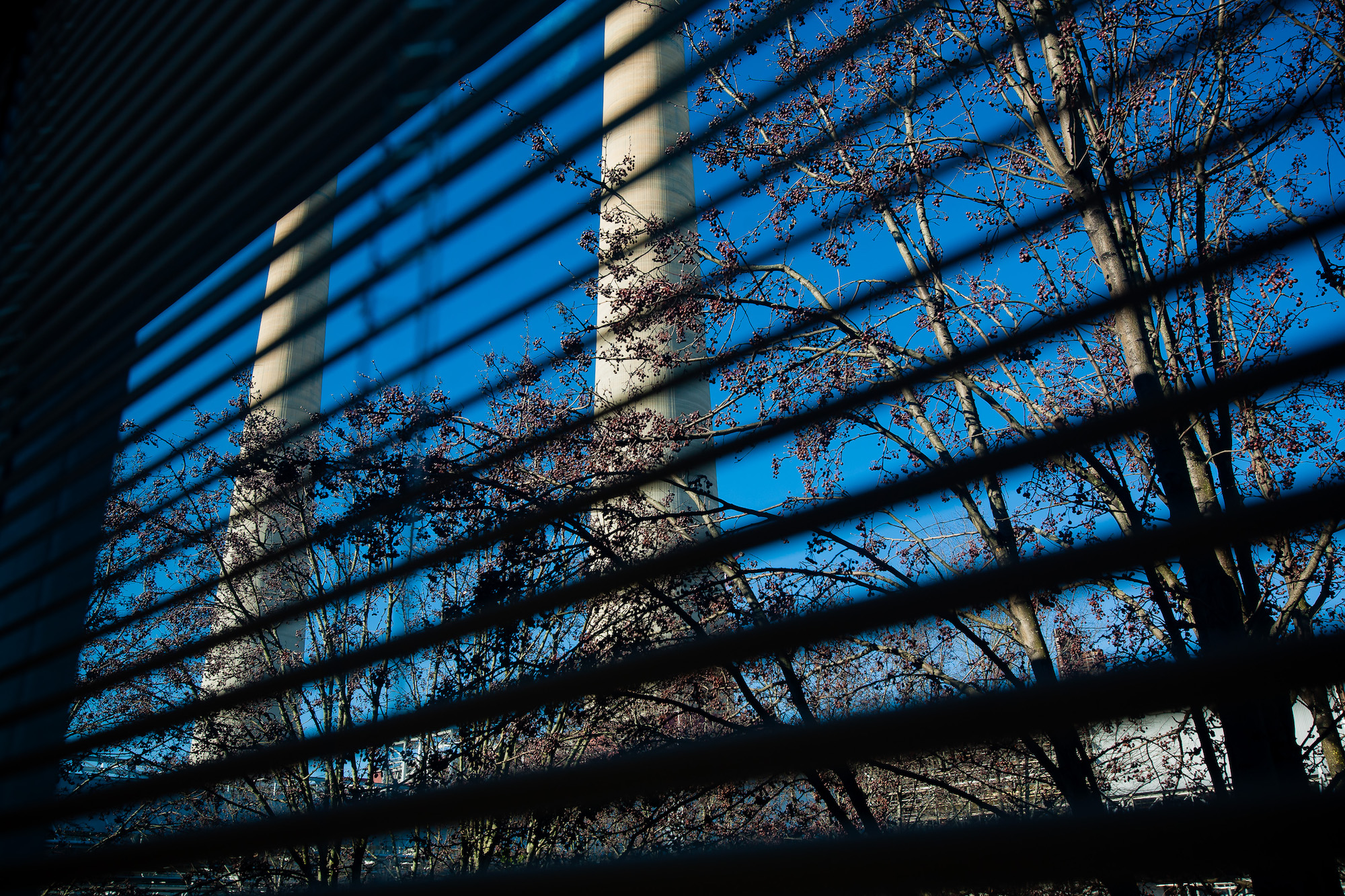 A view through office blinds of the stacks at the TVA Fossil Plant in Kingston, Tennessee.