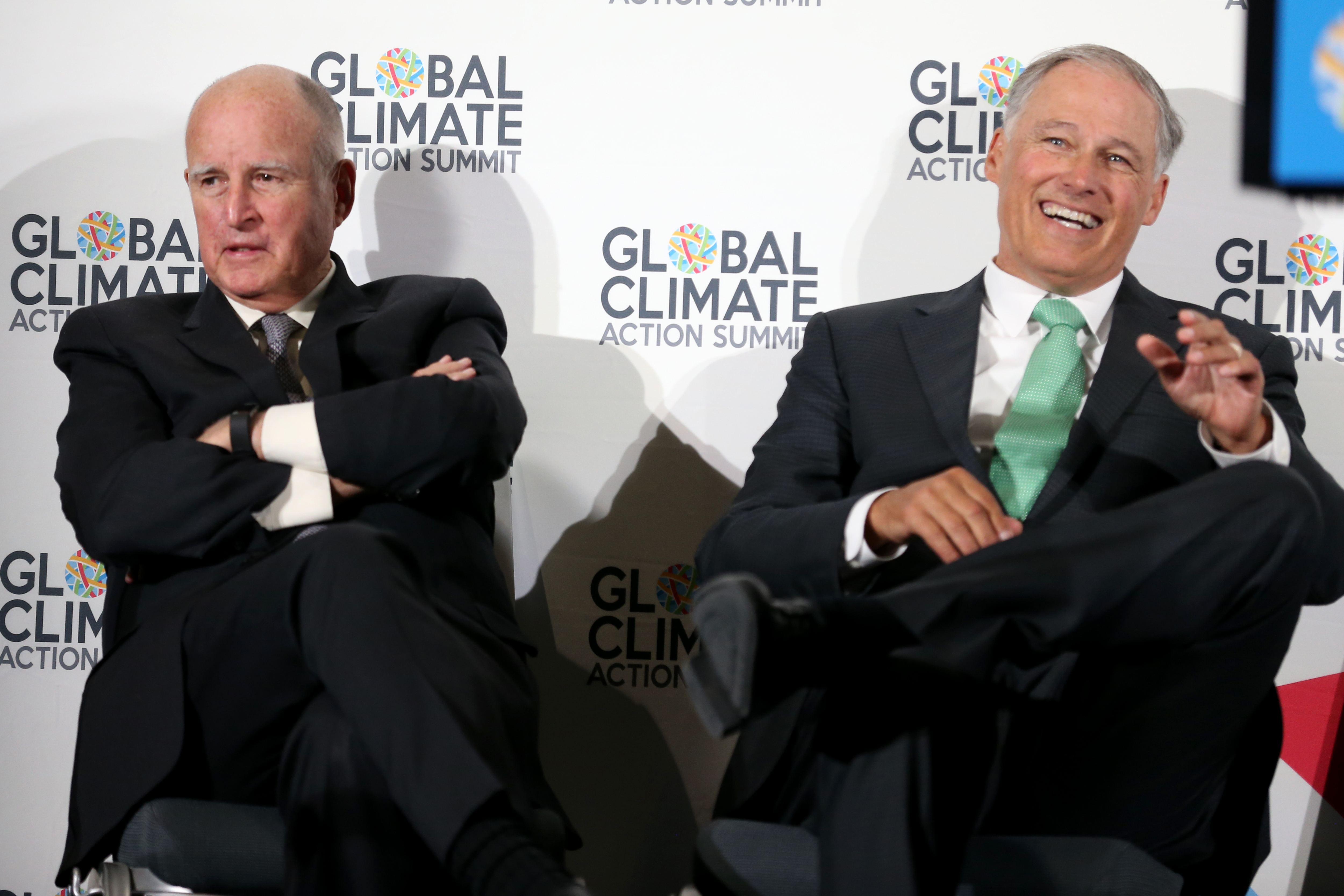 Governors Jerry Brown of California and Jay Inslee of Washington at the Global Climate Action Summit