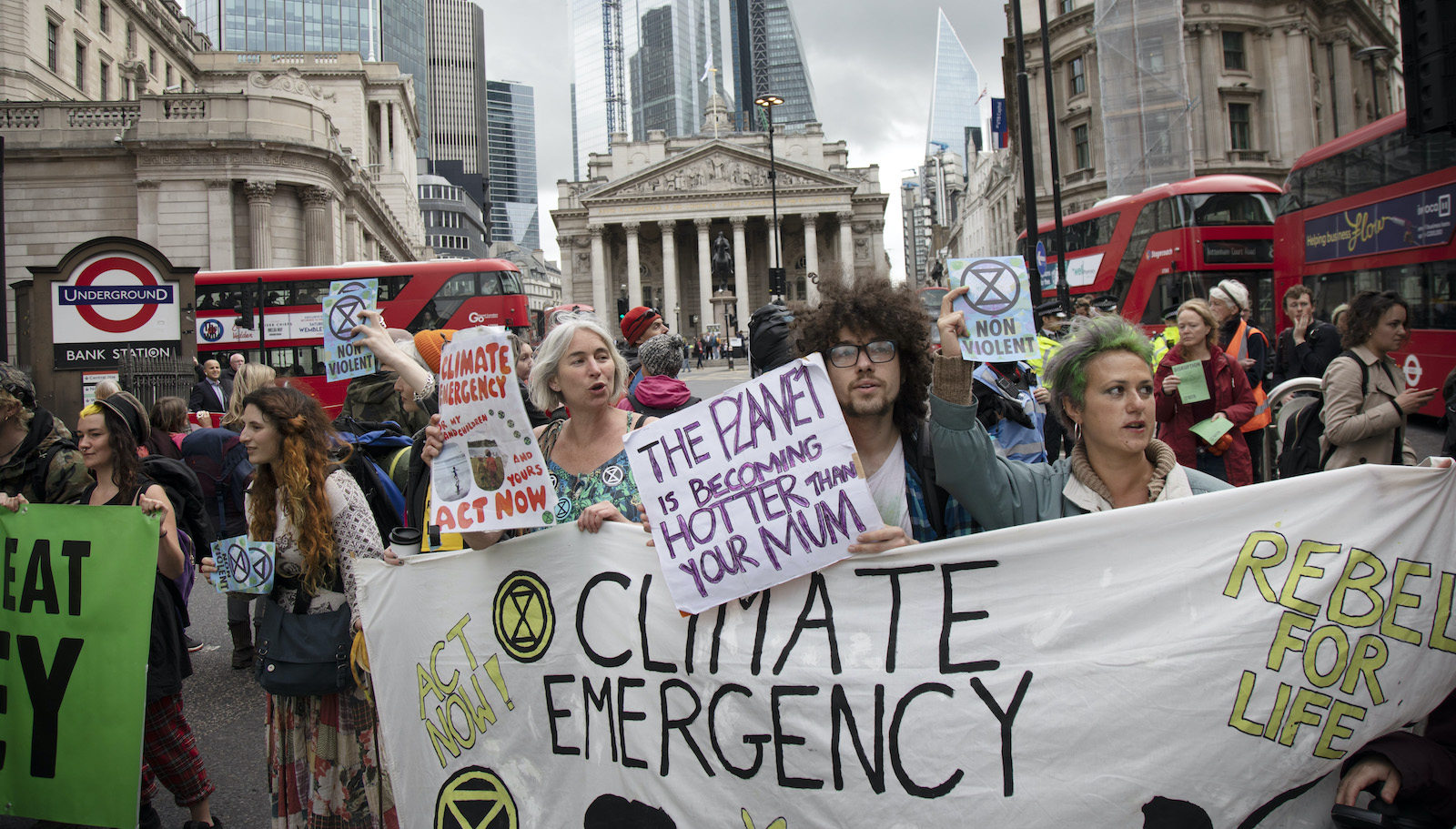 "Climate change protestors pushing for a ""climate emergency."""