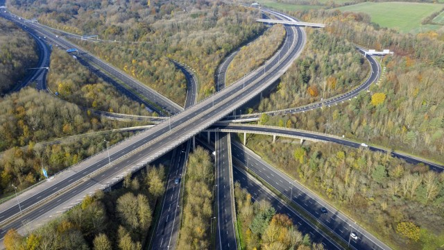 An aerial view of the M25/M23 junction in England, empty of vehicles