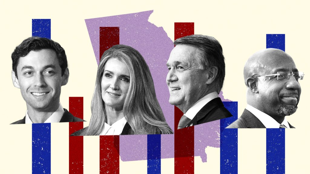 A collage of Jon Ossof, Kelly Loeffler, Raphael Warnock, and David Perdue on a background of Georgia state with red and blue vertical bars