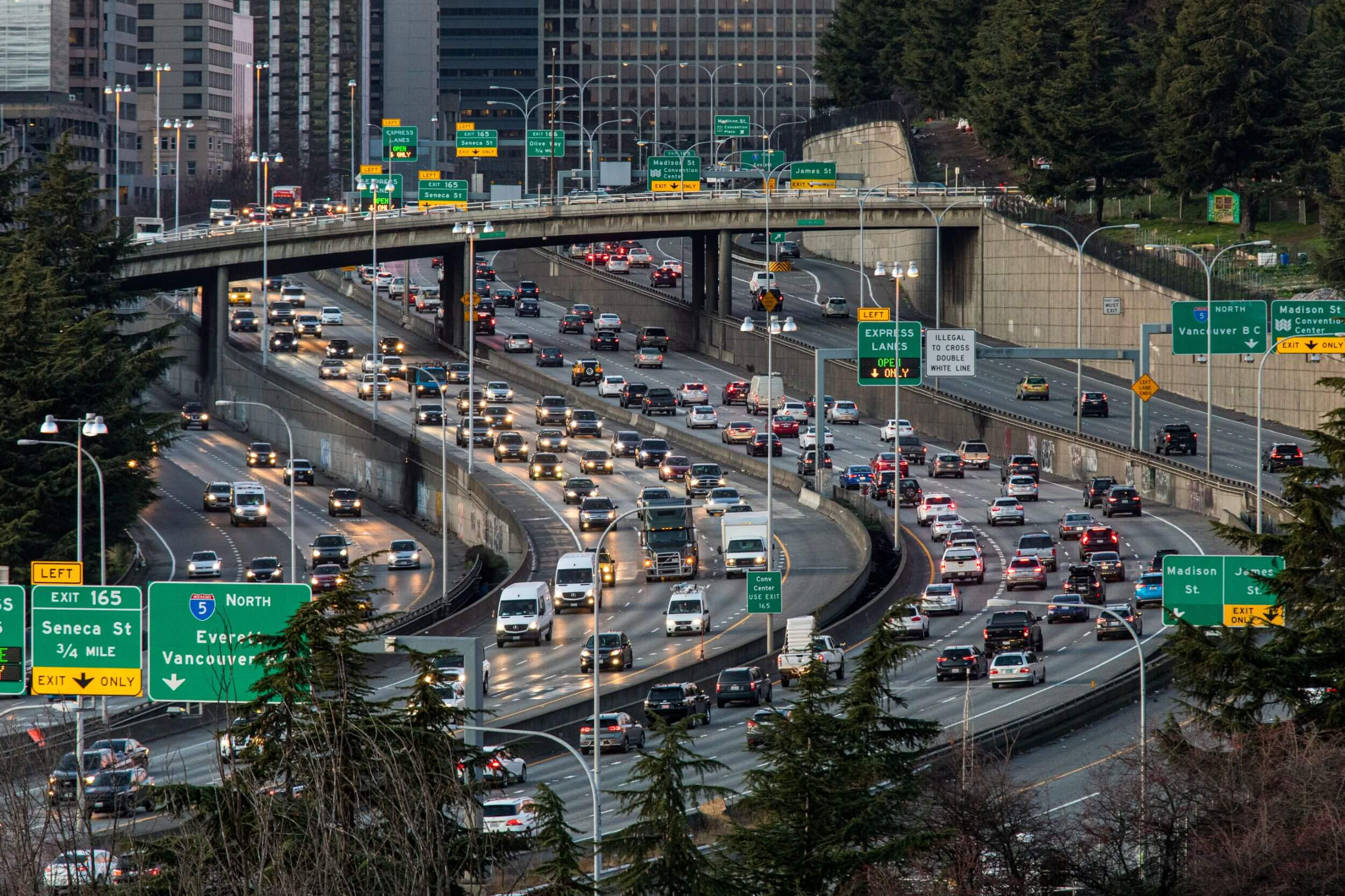 traffic on Interstate 5 in downtown Seattle