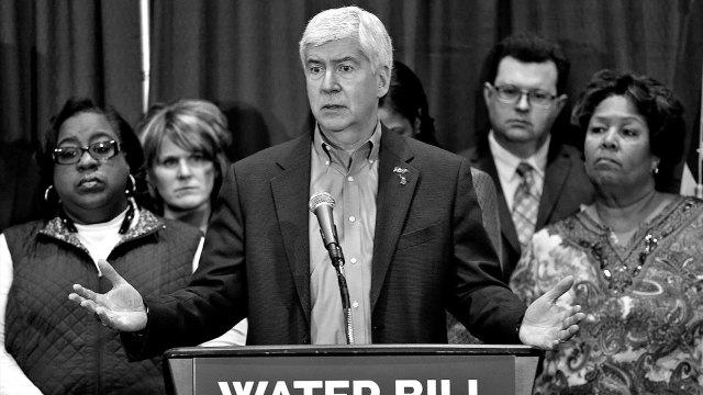 Gov. Rick Snyder speaks after attending a Flint Water Interagency Coordinating Committee meeting in Flint, Michigan