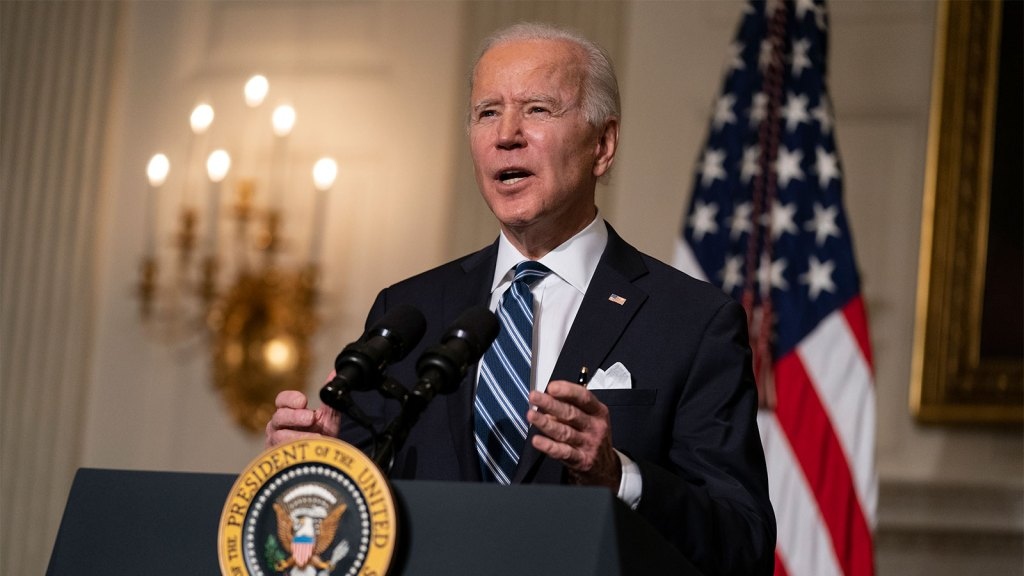 President Joe Biden delivers remarks on climate change and green jobs, in the State Dining Room of the White House