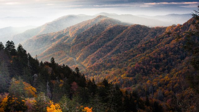 A view of the Smoky Mountains with fog in the distance