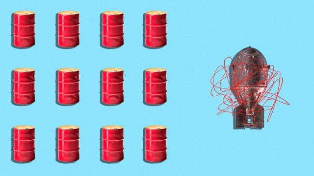 A collaged image of oil barrels with an atomic bomb that has a red scribble on top of it