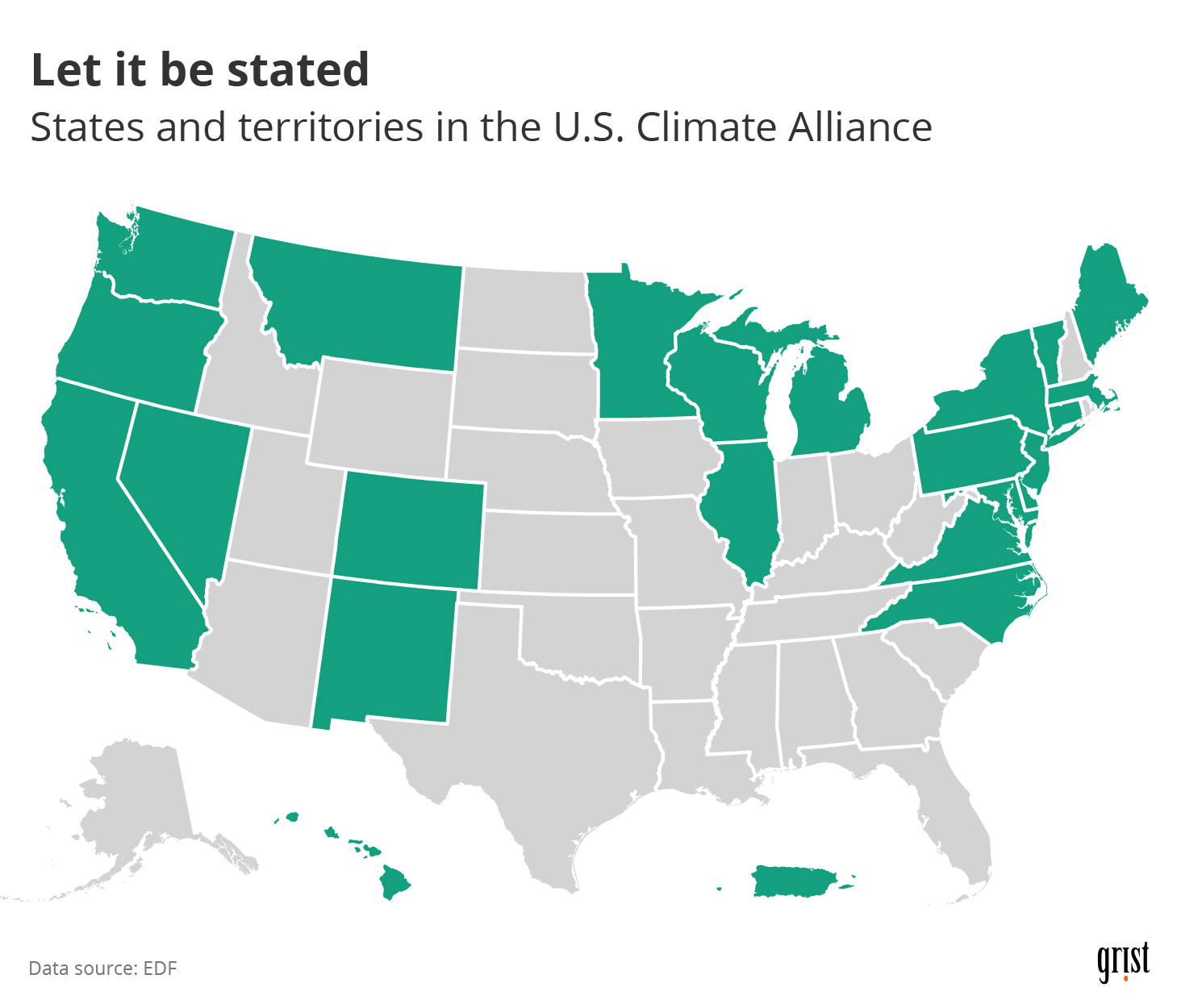 A map showing the states and territories in the U.S. Climate Alliance. Members include many states in the Northeast and on the West Coast, as well as Puerto Rico and Hawaii.