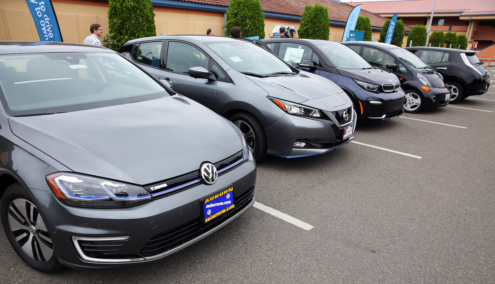 Electric cars lined up for a test drive event in Renton, Washington.