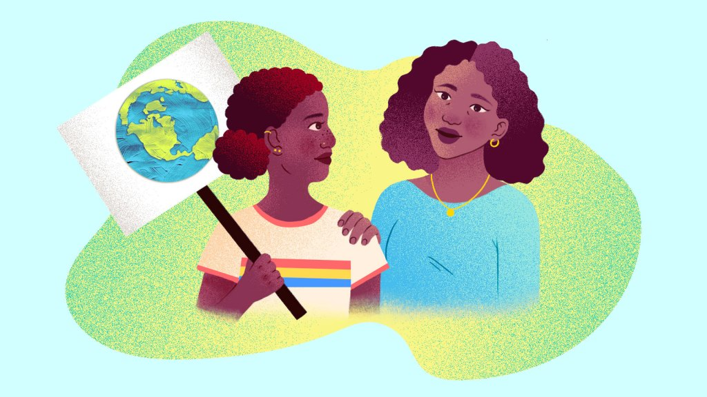 An illustration of a daughter, holding a protest sign with a painting of the Earth on it, and her mother talking to her.
