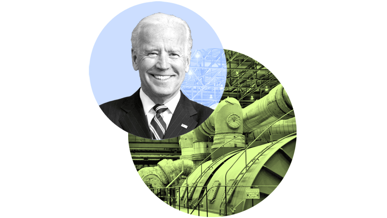 Two overlapping circles with the top-most containing a photo of President Biden and the lower circle containing a photo of a mechanical turbine.