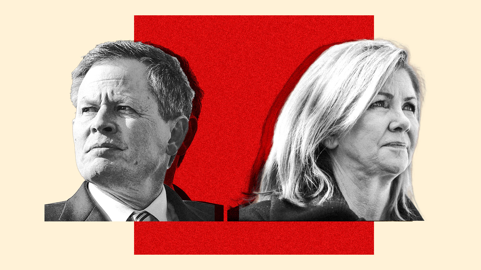 A photo collage of Steve Daines and Marsha Blackburn with a red square behind them.