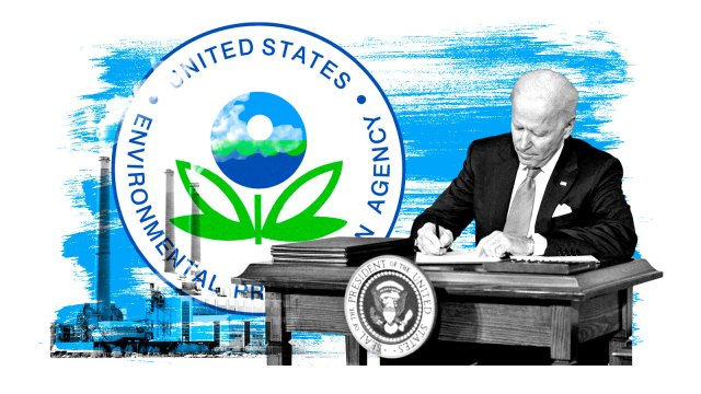 A collage of a photograph of a coal plant, the logo of the Environmental Protection Agency, and a photograph of President Joe Biden signing a piece of paper.