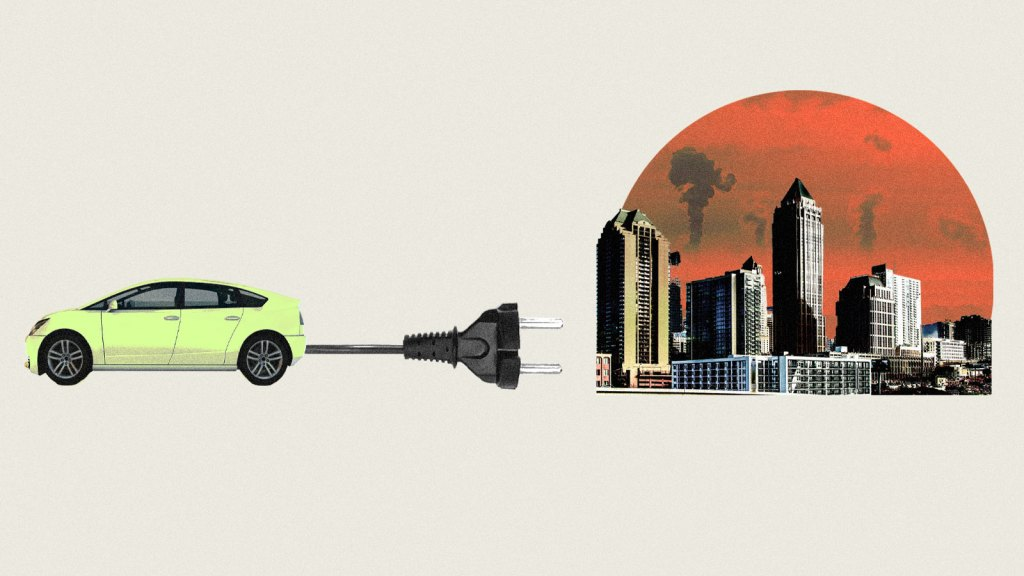 Photo collage of a car with an electrical plug coming out of it next to a smoggy city