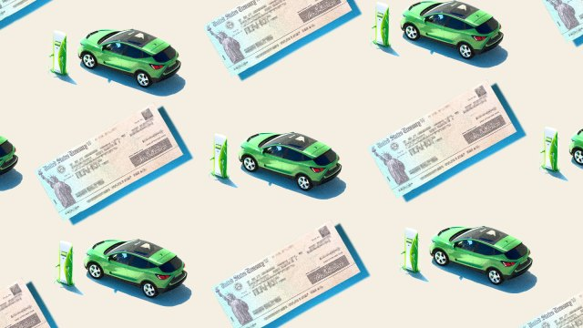 A photo collage of repeated images of a United States Treasury check and an electric car plugged into a charger.