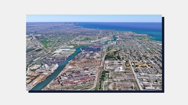 An aerial picture of the new location of a metal scrapyard in the Southeast Side of Chicago