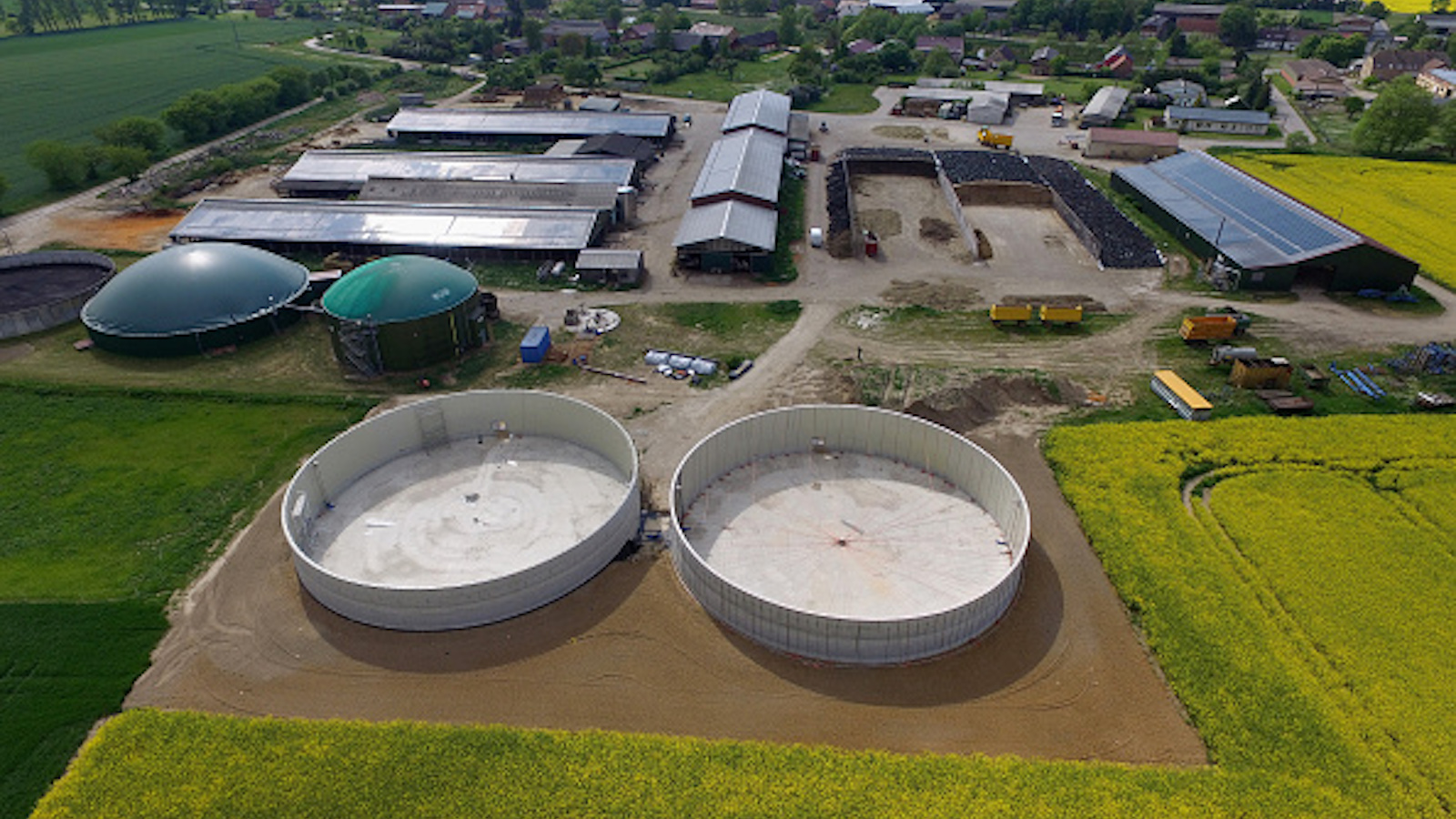 an aerial photo of a German biogas facility