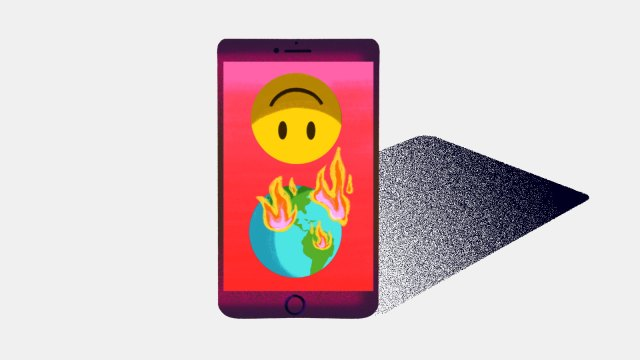 An illustration of an iPhone with the iFunny smiley face logo and an earth on fire on the screen of the phone.