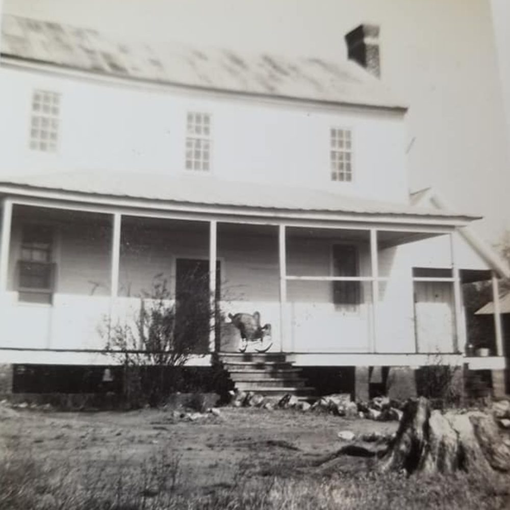 Black and white photo of house