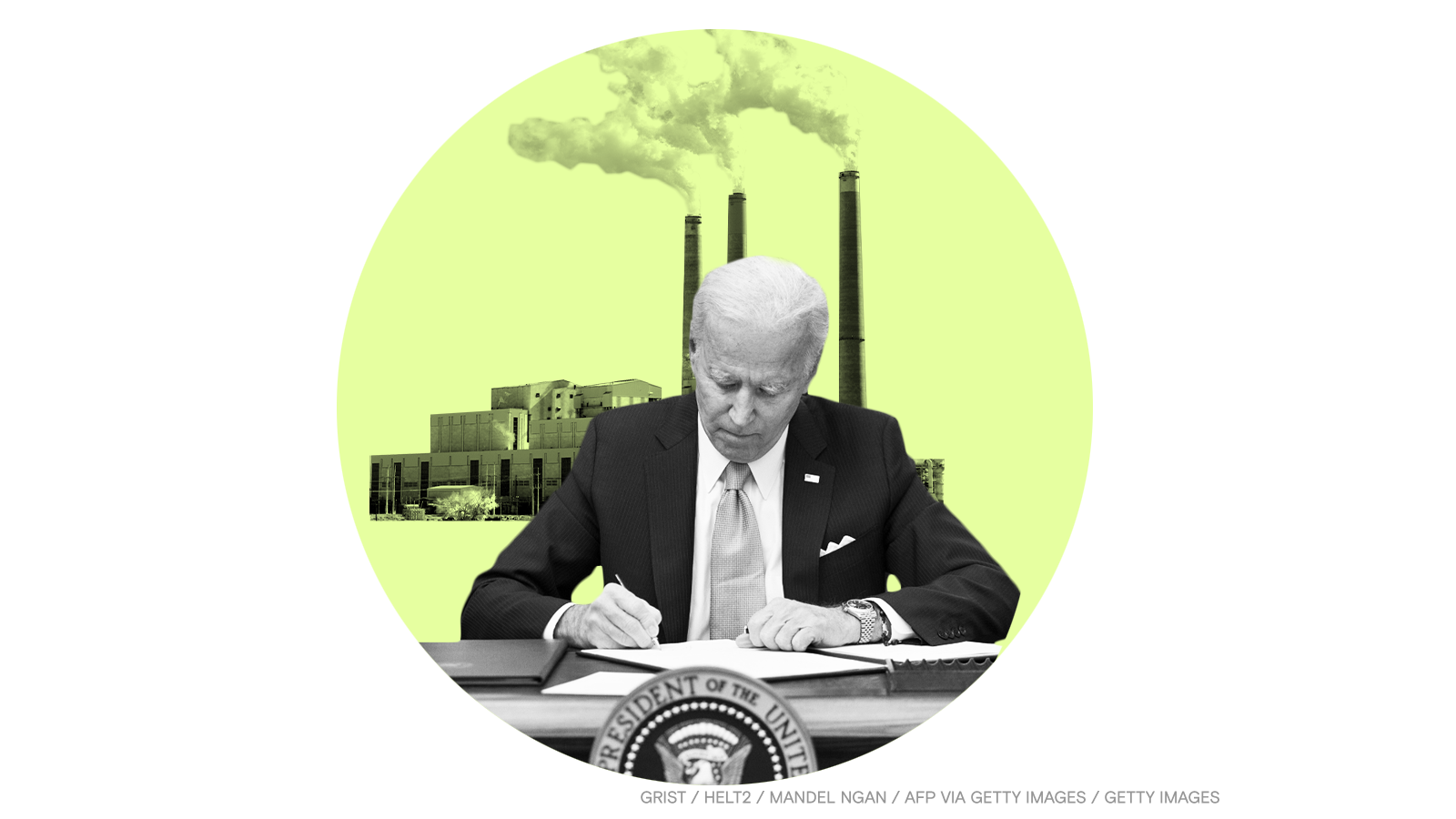 Biden signing a bill against a background of smokestacks.