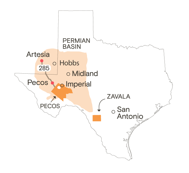 A map of Texas.