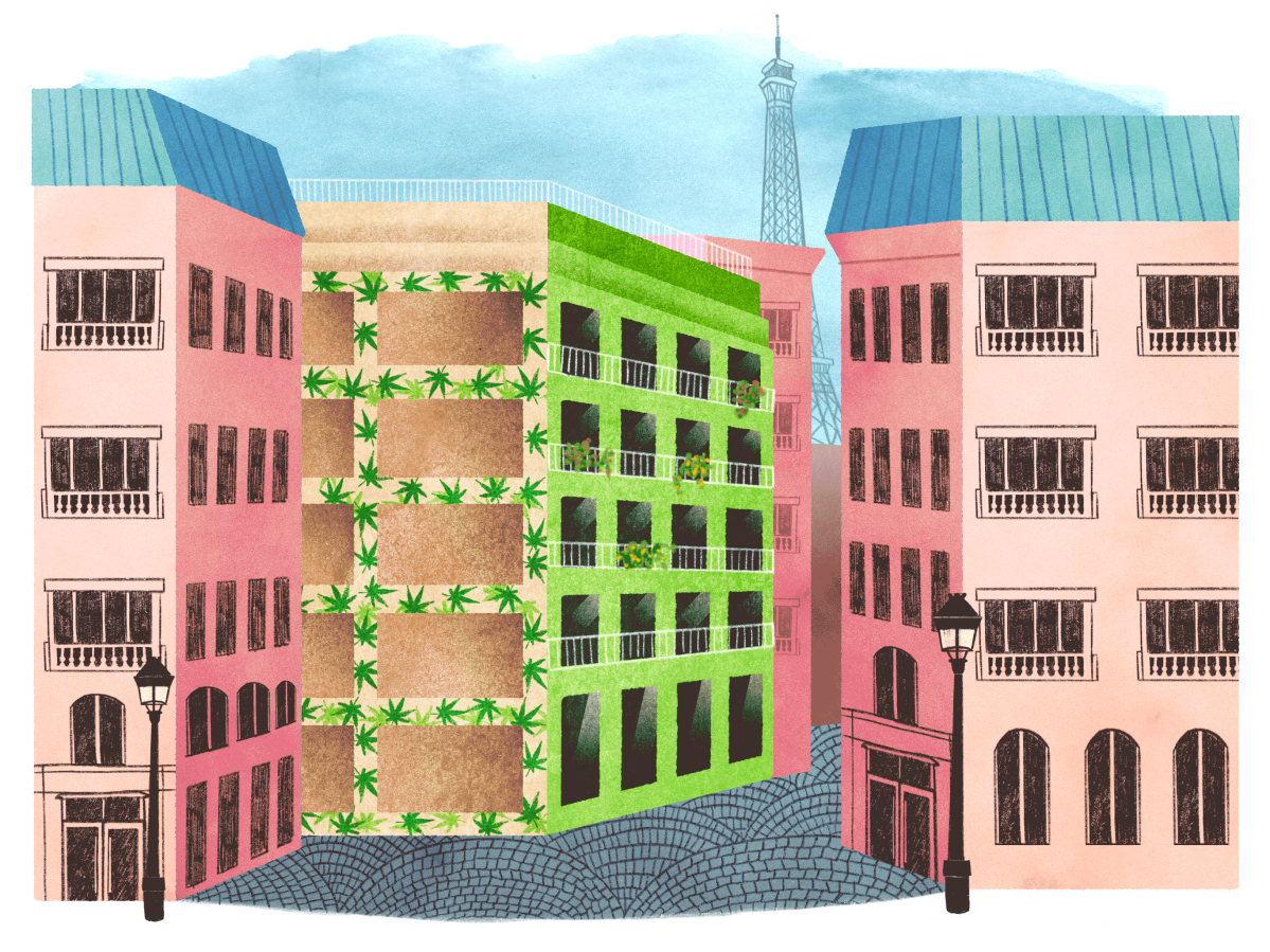 an illustration of a street in Paris with a row of buildings. In the center, the building is slightly green with cannabis leaves on the outside.