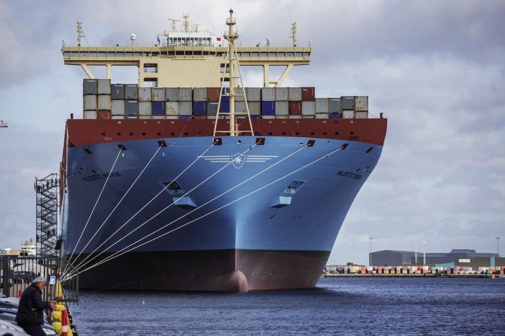 عکس بزرگترین کشتی کانتینری حمل و نقل در آن زمان ، Majestic Maersk ، در اسکله Langellini در کپنهاگ در سال 2013. این یک کشتی بزرگ و آبی است که با بسیاری از ظروف حمل و نقل رنگارنگ پوشیده شده است.
